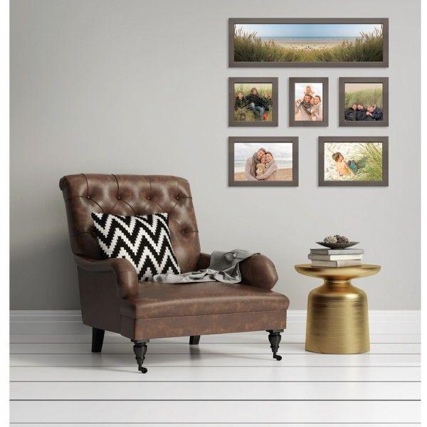 """Mur de cadres """"CARRE MAGIQUE"""" CosyGallery, composé de 6 cadres photos, en coloris Ardoise, Taupe et Titane. A personnaliser avec vos photos."""