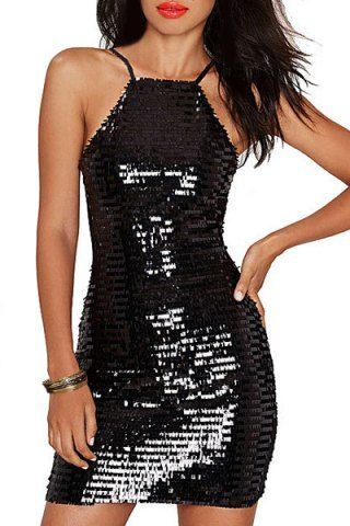 Stylish Spaghetti Strap Mesh Spliced Sequins Dress For Women