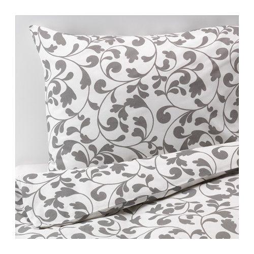 ROSTVIN Duvet cover and pillowcase(s), white, gray white/gray Full/Queen (Double/Queen)