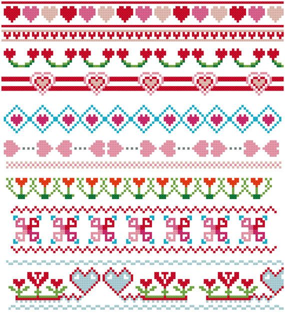 Hearts cross stitch borders pattern