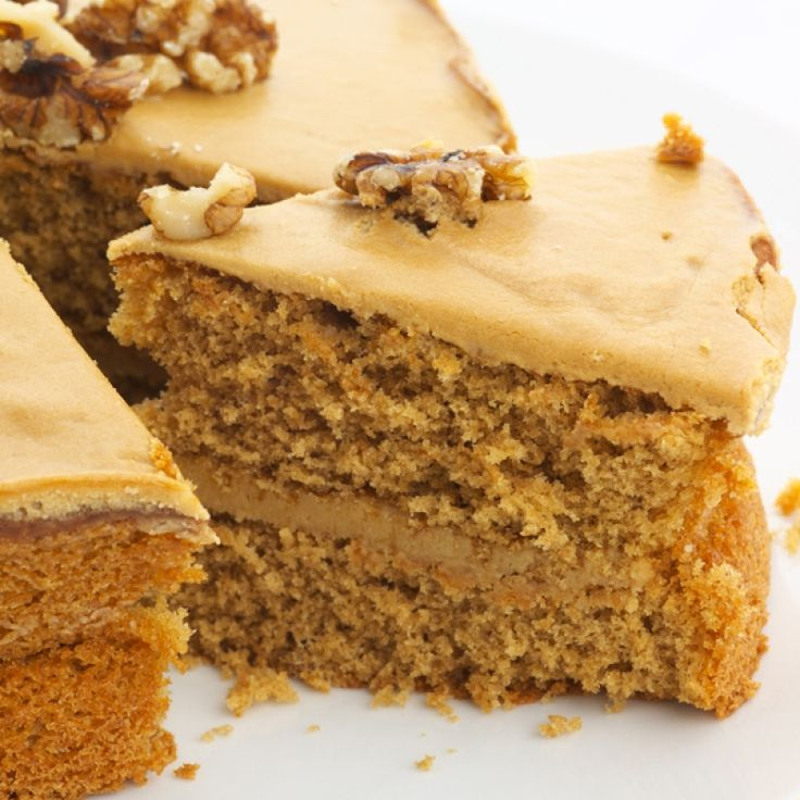 This coffee cake recipe has a light flavor coffee flavor and the brown sugar icing is a perfect compliment.