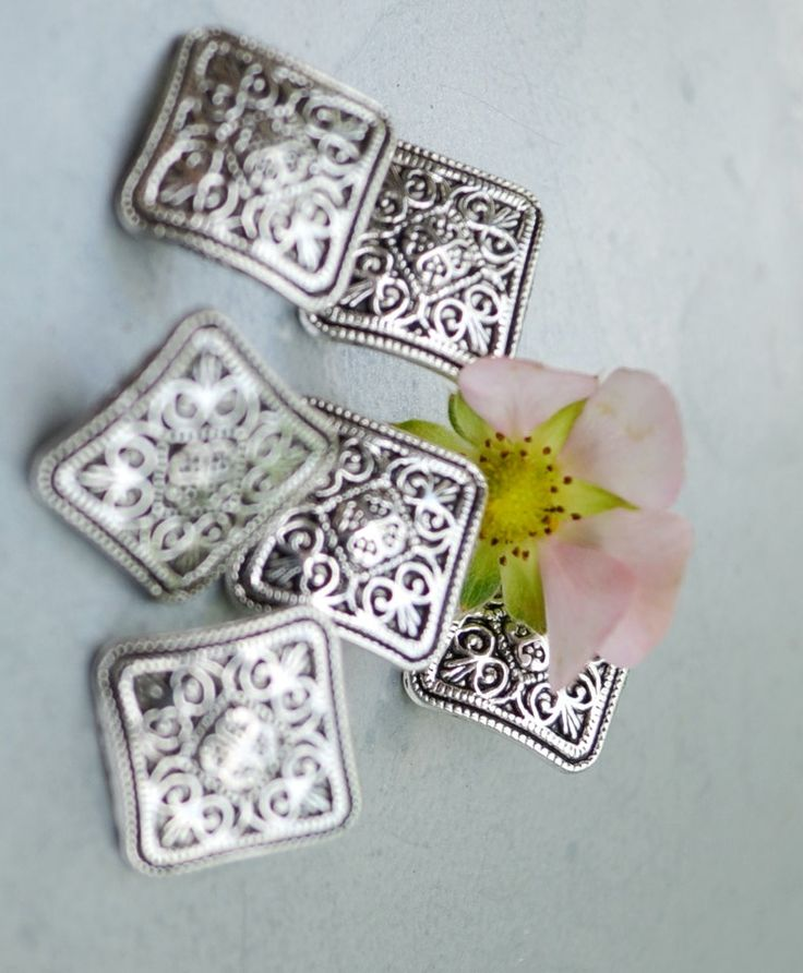 set of 6 square silver flower pattern buttons by yourbuttonshop on Etsy