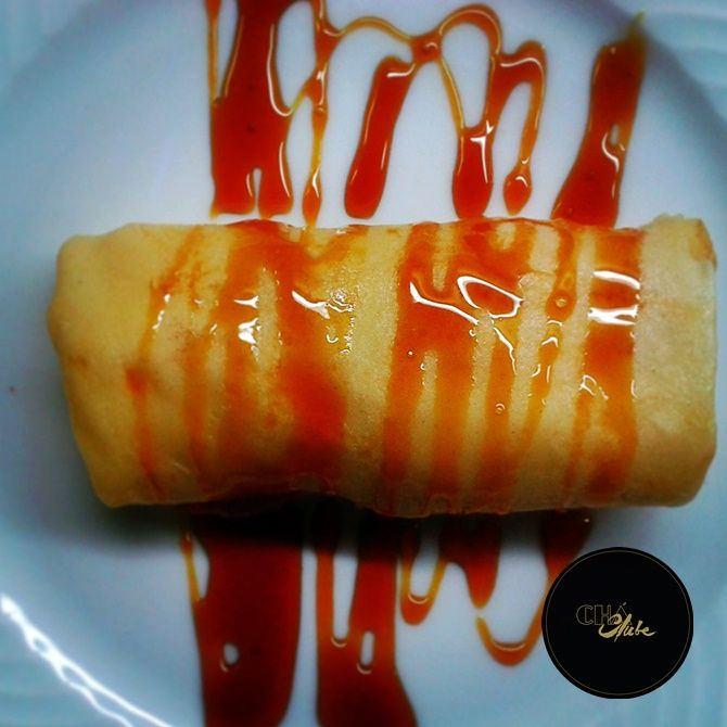 Crepe de morango delicioso. Delicious Strawberry crepe.