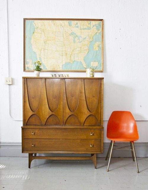 Oh So Lovely Vintage: Friday Faves.  Danish modern credenza & map image  http://ohsolovelyvintage.blogspot.co.uk/2012/08/friday-faves.html#