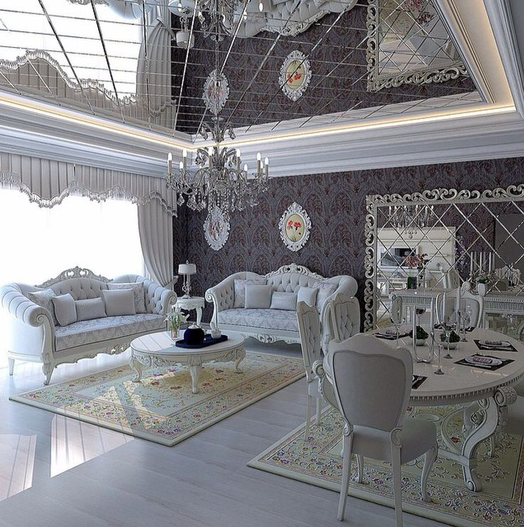 Silver and white living room/dining room