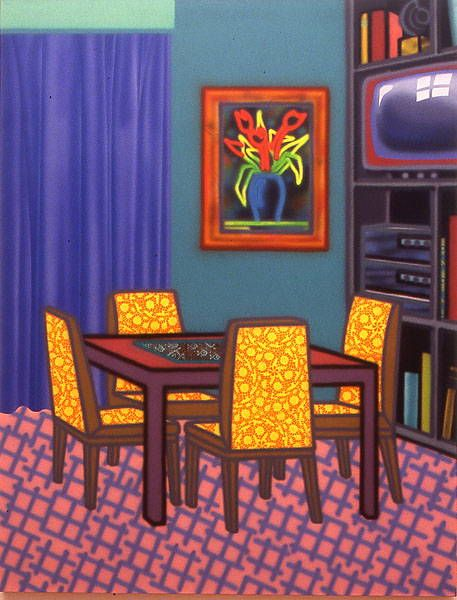 """Roomrite by Howard Arkley, 1992. """"This painting was shown first in 'Mix'n Match' (1992), and then at the Bellas Gallery in Brisbane, May 1993 (as 'Room Rite'), when it appears to have been inscribed with the date 1993"""""""