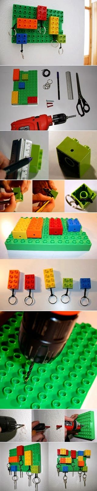 Diy Lego Key Hanger - love it!  Everyone gets a color so you know who's is missing!