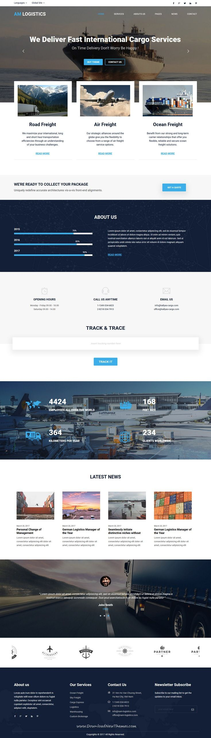 Amlogistic is clean and modern design 3in1 responsive bootstrap #HTML5 template for #cargo, transportation and #logistics company website to live preview & download click on Visit #webdesign