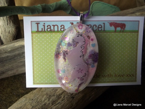 handmade resin unicorn necklaces mythical beasts by LianaMarcel, $15.00