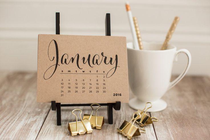SALE Desktop Calendars Jan. 2016-Jan 2017 Kraft by GraphixLLC