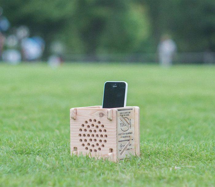 組み立て式のスピーカーです。。スマホスタンド 木製 スマホ スピーカー スマホスピーカー スピーカードッグ ヨカ GOOUT YOKA PANEL ACOUSTIC SPEAKE 組み立て式 パネル おしゃれ 【送料無料】 アウトドア フェス キャンプ 電源不要 収納 日本製