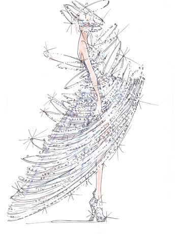 fashion sketch for Lady Gaga (G. Armani)
