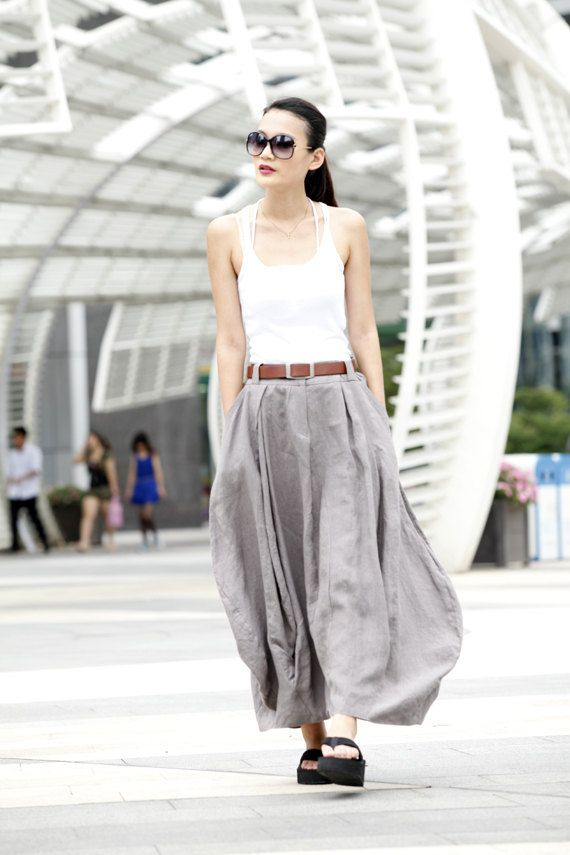 Sexy Grey Long Summer Skirt Linen Bud Long Maxi by Sophiaclothing, $74.99