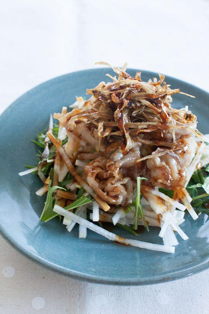 豚肉とカリカリごぼうのせ 中華風大根サラダ by tomo | レシピサイト「Nadia | ナディア」プロの料理を無料で検索