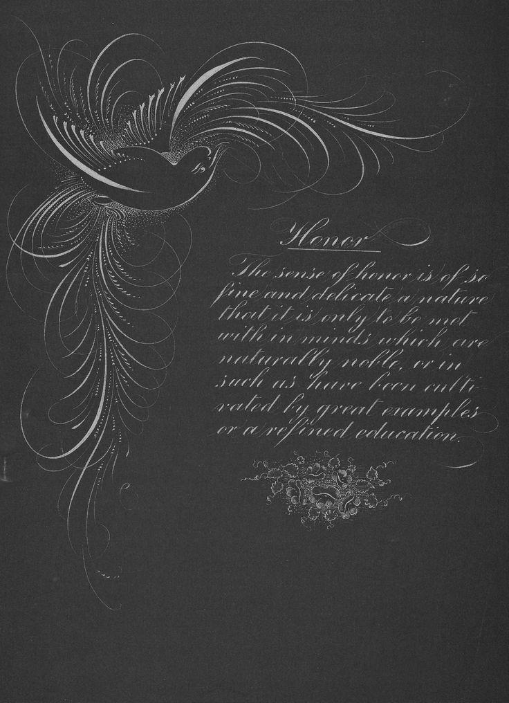 Spencerian Flourish Of Bird And Poem Calligraphy