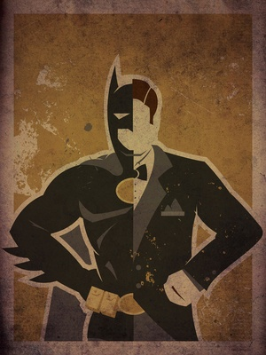 Minimalist superhero posters bisect Batman into his alter ego Bruce Wayne, by Danny Haas