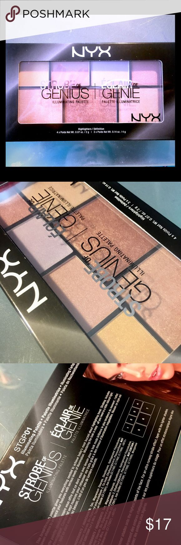 NYX Strobe of Genius Highlighter Palette NIB Authentic NYX Strobe of Genius Highlighting Palette Brand New in Box. Never opened. The swatches and open palette are my own. NYX Cosmetics Makeup