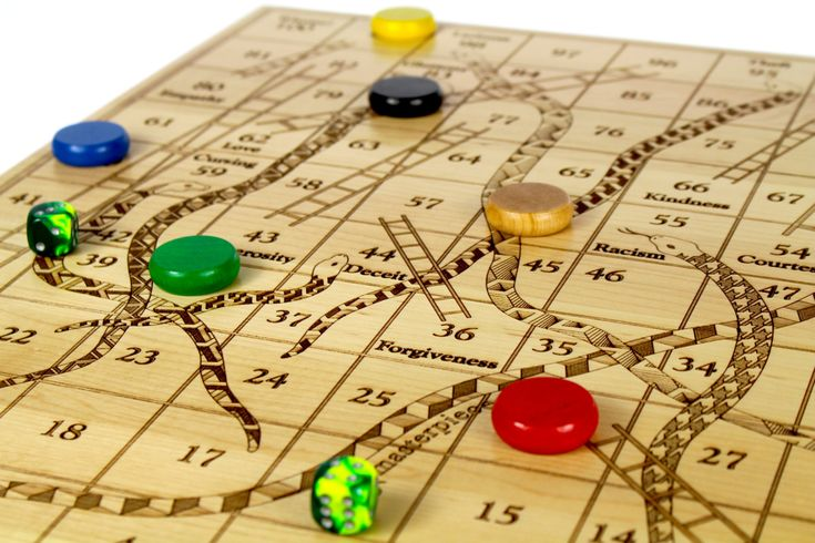 Snakes and Ladders, Solid Maple Game Board, Up to 6 Players, Classic Board Game, Paul Szewc, Masterpiece Gallery - http://etsy.me/20mgDVE