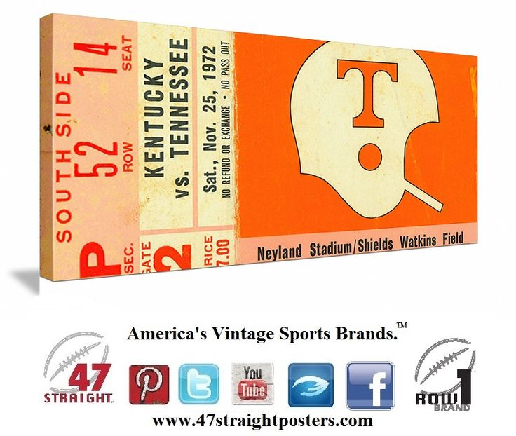 #Tennessee #Vols #football #collegefootball #SEC football ticket stub art on canvas made from a 1972 Kentucky vs. Tennessee football ticket.