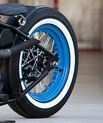 spoke rim with blue coating and white wall tire wheels pinterest tired bobber bikes and bobbers