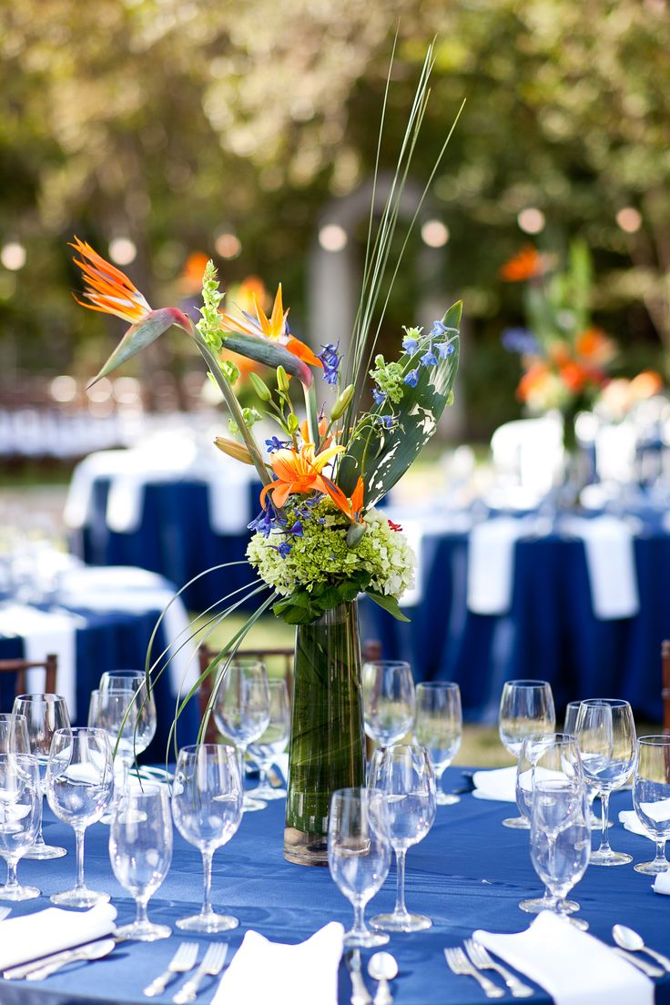 Bird of paradise center pieces! Flowers by Petal Pushers and photography by Brett Buchanan Photography.