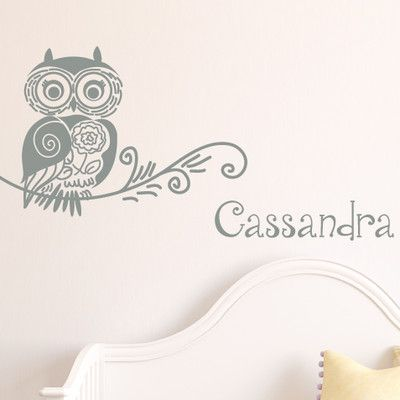 SissyLittle Doodle Owl Wall Decal Color: Middle Gray