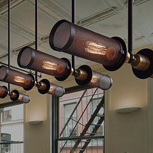 PureLumeTM Retro DualAged Loft Hängelampe im Mesh Design in Schwarz mit Edison Nostalgie 40W Glühbirne