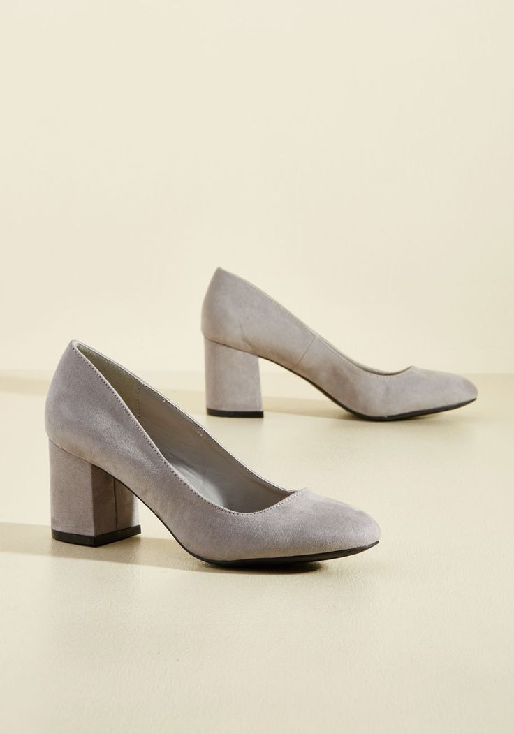 Cue the Classics Block Heel in Stone | Mod Retro Vintage Heels | ModCloth.com  Looking to bring elegance to your ensemble with a simple shoe choice? Enter these light grey heels. From the tips of their round toes to the base of their block heels, these midi pumps are finished with faux-suede uppers and a timeless sense of style that completes any look on demand.