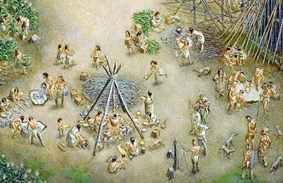 """The Huron-Wendat was a confederacy of five Iroquoian-speaking nations located in what is now northern Simcoe County, ON, until about 1650, when they were dispersed by the Haudenosaunee (Iroquois, or """"People of the Longhouse"""")."""