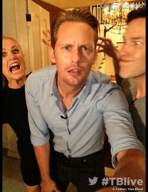 """Anna Paquin, Alexander Skarsgard et Stephen Moyer sur le plateau de la série """"True Blood"""", soirée de lancement de la saison 6 sur HBO, le 16 juin 2013."""