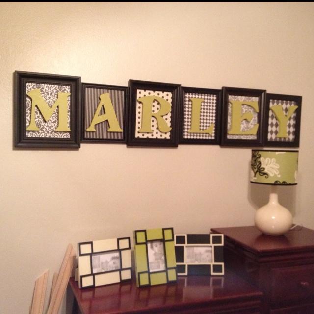 Name art   craft paper, frames, wooden letters | Kids' Room | DIY
