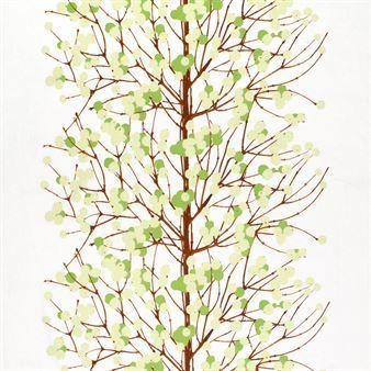 Lumimarja stoff - hvit / grønn / brun - Marimekko