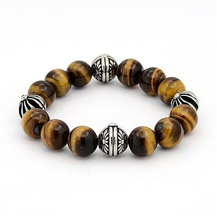 Natural Tiger Eye Gemstone Round Beaded Stretch Bracelets(BJEW-J164-01B)