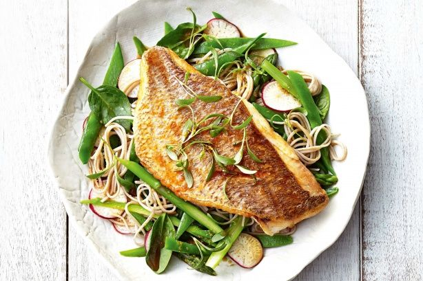 Snapper is an extremely good source of lean protein, and has a delicate flavour that works beautifully with the Japanese flavours of the dish. Cooking it with minimal olive oil keeps the fat content down.