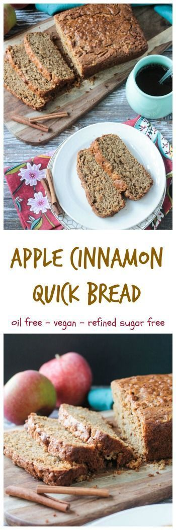 Apple Cinnamon Bread - simple, classic fall flavors in an easy oil-free quick bread. Try it for breakfast, a lunchtime treat, an afternoon snack with coffee or tea, or even a dessert. #vegan #dairyfree #apple #fall #quickbread via @veggieinspired