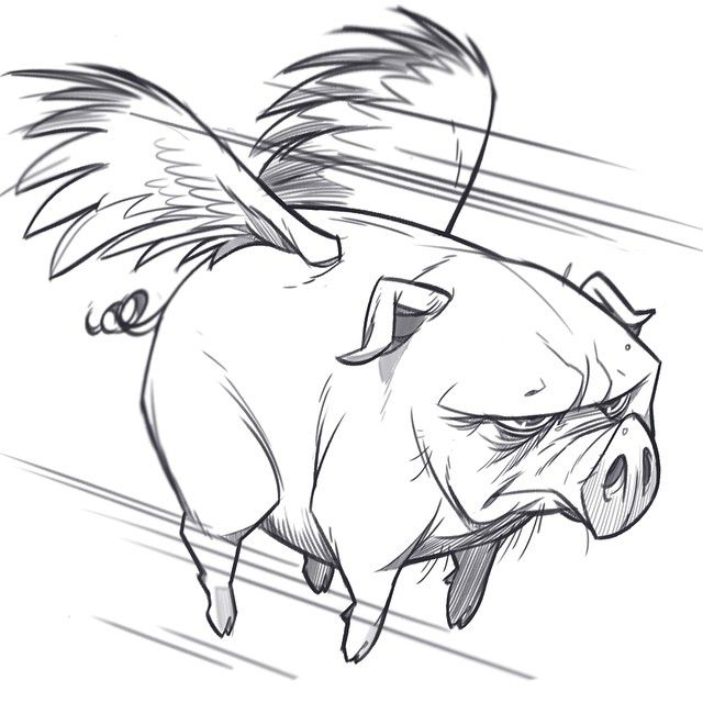 """1,165 Likes, 11 Comments - Paul COhen (@paul1834) on Instagram: """"When pigs fly - last nights evening cool down sketch"""""""