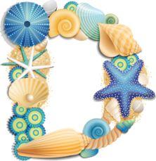۞ Seashell Alphabet, Blue by Яндекс. ۞ D