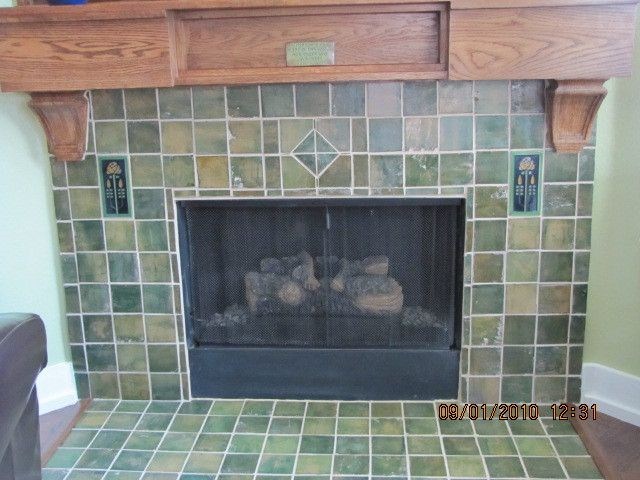 17 best images about fireplace ideas on pinterest for Arts and crafts fireplace tile