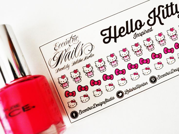 Hello Kitty - Nail Decals  These adorable Nail Decals can also be used as a Party Favor or Gift item for a Hello Kitty Birthday Party. Nail Designs / Nail Art / Nail Art Ideas / Nail Decals DIY / Nail Decorations Ideas / Kids Nails / Kids Nail Art / Kid Nail Designs