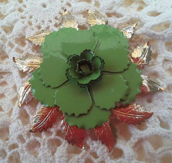 Large gorgeous Vintage green enamel Flower by teeztreasuretrove