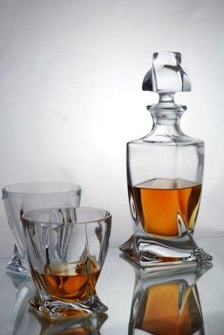 Decanter Set | Decanters | Quadro Whisky Decanter Set inc Tumbler Glasses