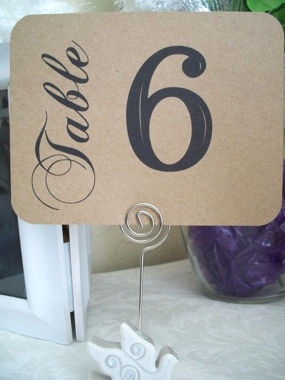 """I like the word """"table"""" printed in different font and vertical to the horizontal number - table number ideas"""