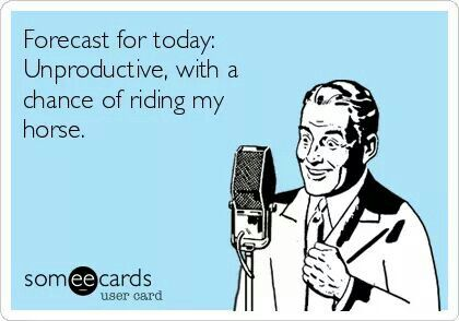 Forecast for today: unproductive, with a chance of riding my horse.
