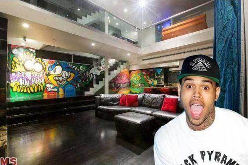 Inside Chris Brown's Graffiti-Filled Hills House, Asking $1.92MM