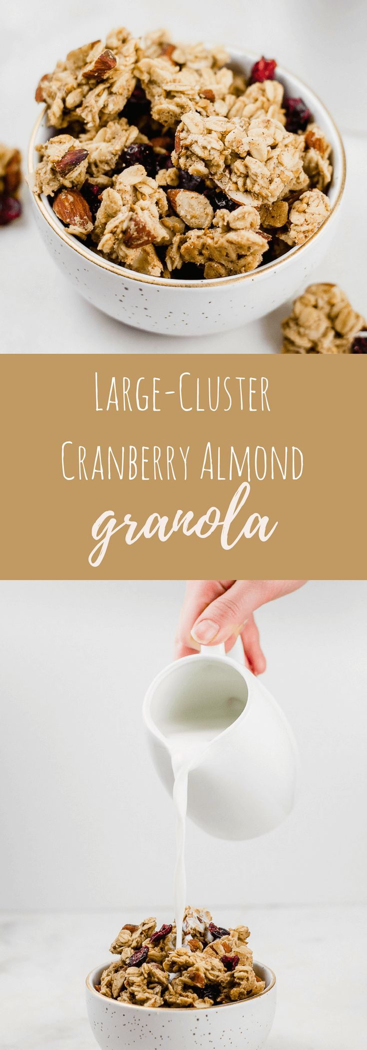 This easy cranberry almond granola recipe will convince you that homemade granola is the way to go! Plus, find out the best tricks to get chunky granola with large clusters.