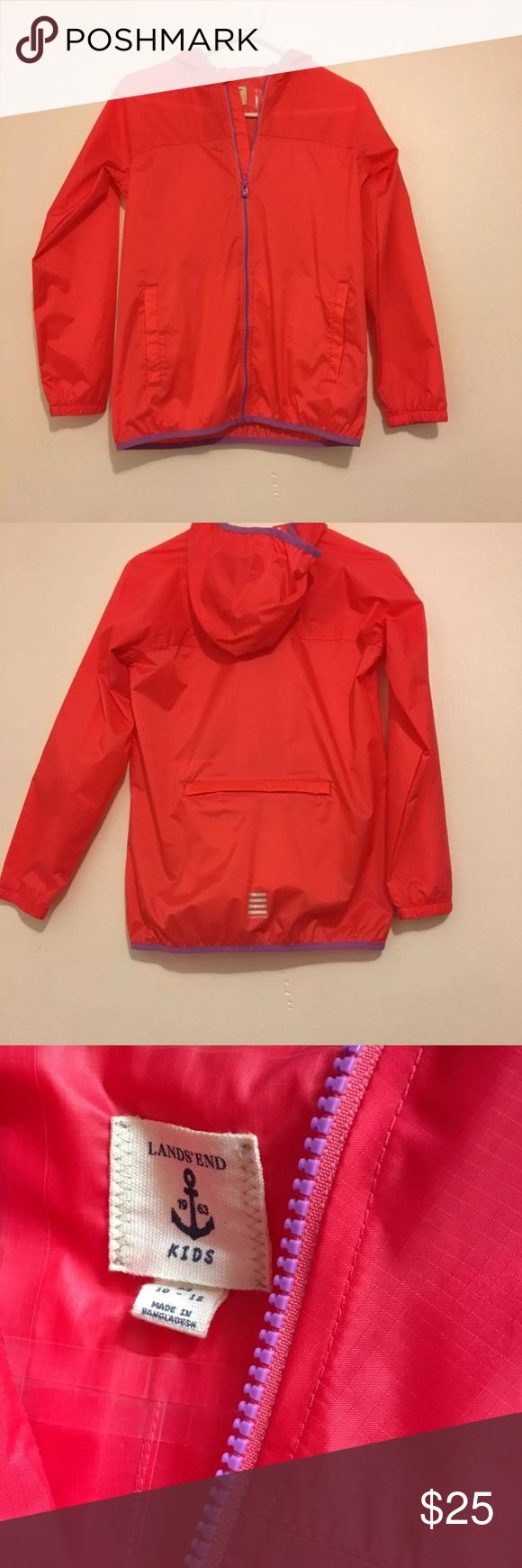 Lands end rain jacket Lands end zip up jacket Salmon w/ purple Great for rainy days Lightweight  Hoodie Size kids M (10-12) may also fit women's S/XS NWOT Lands' End Jackets & Coats Raincoats