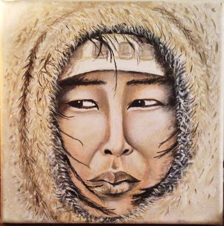 Woman Eskimo Acrylic Portrait Painting