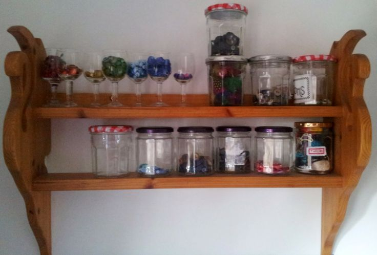 Swan shelves with beads and buttons in jars, Craft with Ruth Cartwright