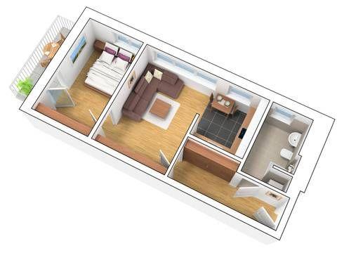 3D Grundriss 2 Zimmer