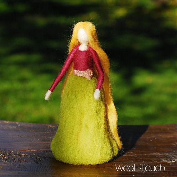 Doll miniature Princess Waldorf  Flower Fairy Needle by WoolTouch